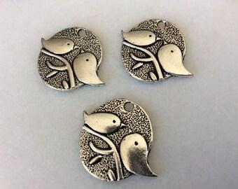 Antique silver tone love birds charm pendants