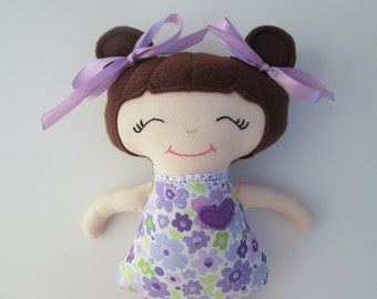 Soft Doll, with Brunette Hair and Purple Outfit, Baby's First Doll, Christmas stocking stuffer, baby doll, Ready to Ship