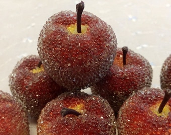 Set of 12 Vintage  Sugared Beaded Apples with Stems