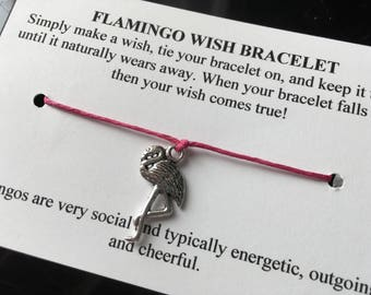 Flamingo Wish Bracelet - Wish Bracelet - Flamingo Bracelet - Party Favor - Wishing Bracelet - Bridesmaid Gift - Friendship Bracelet