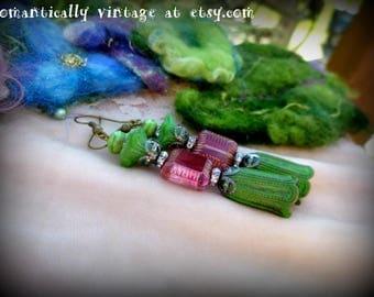 Earrings, Green, Patina, Pink, Handmade, Beaded, Shabby Chic, Victorian, Summer, Beach