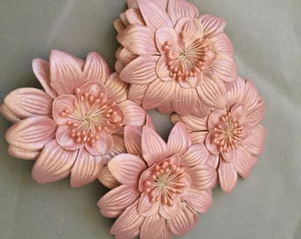 Peach Faux Leather Flower with Pin Back, Four (4) Flowers