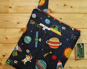 Cloth Diaper Wetbag, Space Adventures, Diaper Pail Liner, Diaper Bag, Day Care Size, Holds 5 Diapers, Size Medium with Handle item #M132