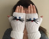 CAT GLOVES, Cat Hat, White cat gloves, Christmas gift ideas, Hand warmers, fingerless  gloves, warm gloves, Express shipping.