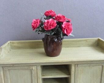 7  Red roses in a ceramic urn  OOAK