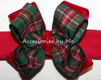 Festive Tartan Headband Scottish Plaid Green Red Velvet Bow Hair Accessories Infant Baby Girls 1st Christmas Holiday Party Pageant Occasions