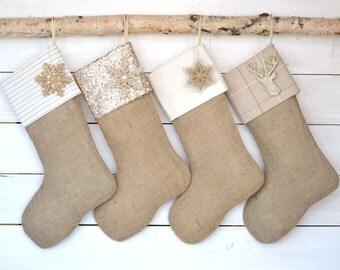 Christmas Stockings - Set of 4 Ivory Family Stockings - Stocking Set, Ivory Stockings, Monogrammed Stockings