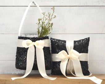 Ring Bearer Pillow and Flower Girl Basket Set with Black Sequins and Ivory Bow