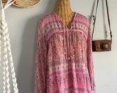 Indian Cotton Gauze Floral Pink Blouse Bohemian Hippie Festival Top L