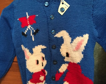 Little Boy's or Girl's size 4-5 Hand Made Knit Sweater- Vintage Knit-O-Graph Peter Rabbit pattern