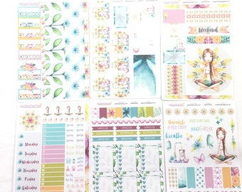 Yoga Planner Stickers Set 6 sheets, Bible Stickers, Planner Stickers
