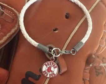 Red Socks Braided Leather Bracelet