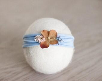 Newborn Headband, Blue and Brown Tieback, Sky Blue and Beige Flower Headband, Blue and Brown Newborn Headband,Great Baby Headband Photo Prop