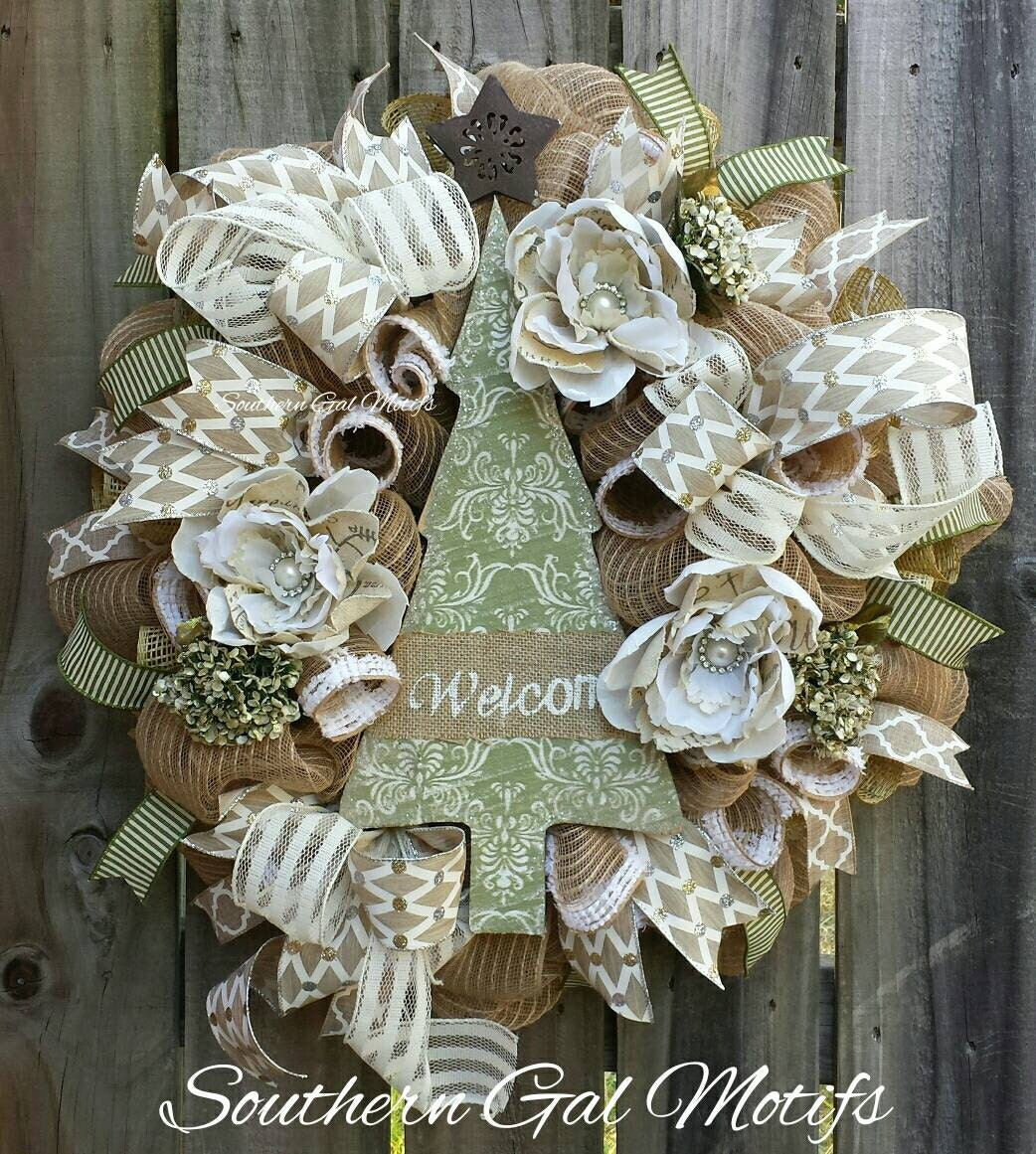 Rustic christmas wreath glam welcome