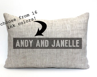 """wedding gift, names pillow, custom pillow, family pillow, name pillow, couples gift  - """"The Andy and Janelle"""""""