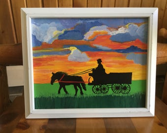 Horse and Buggy Painting on Canvas