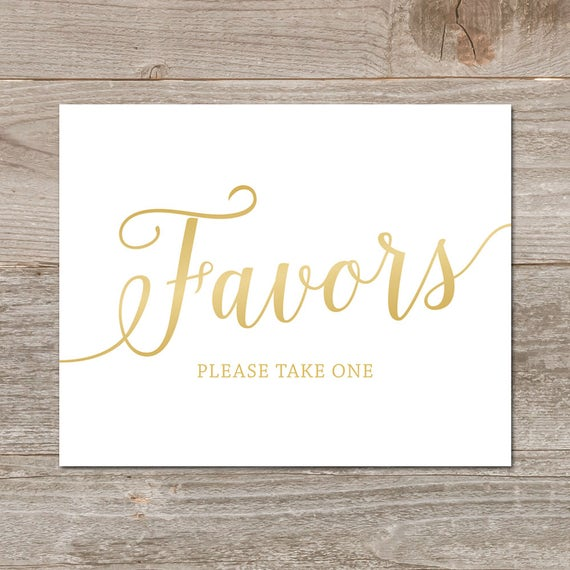 Gold Wedding Favor Sign Please Take One Printable Favors Favours