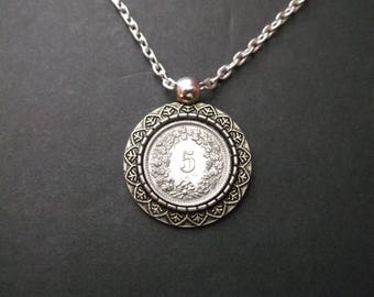 """Switzerland """"5"""" Coin Necklace in Coin Pendant Tray"""