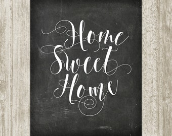 Chalkboard Home Sweet Home Printable Handwritten Home Print Home Poster Home Wall Art