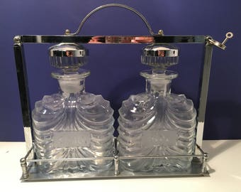 Vintage Scotch Rye Decanters Crome Caddy