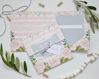 Personalised Will You Be My Bridesmaid Card - Rustic Floral Wedding - Grey and Pink with Bunting and Roses - Twine and personalised tag