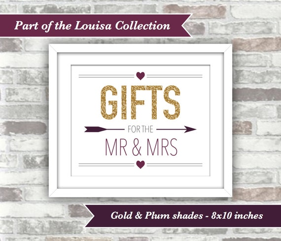 INSTANT DOWNLOAD - Louisa Collection - Printable Wedding Gifts Sign - 8x10 Digital Files - Gold Glitter Plum Burgundy - Fall Autumn - Mr Mrs