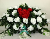 Beautiful XL White Roses With Valentine Heart Carnations Cemetery Arrangement