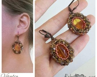 Yellow brown Antique Bronze Earrings, Honey Earrings, yellow glass earring, seedbead earrings, Casual earrings, Elegant Jewelry, copper