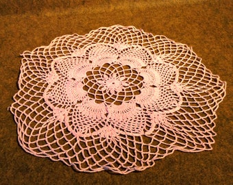 15 Inch Pink Doily - Vintage - Handmade - Dolie - Crocheted
