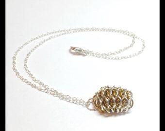 Golden Orange Dragon Egg Pendant - Chainmaille - Sterling Silver