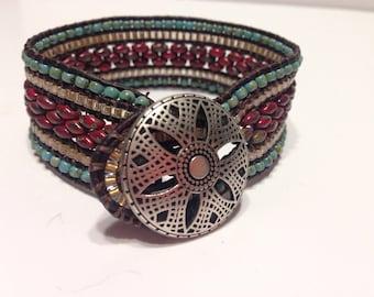 5 Row Beaded Leather Bracelet
