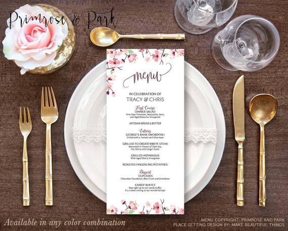 Cherry Blossom Menu Card Printable // Wedding, Bridal Shower, Birthday, Gala, Bar Mitzvah Menu Cards