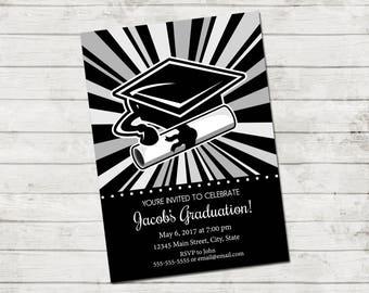 Graduation Party Invitation - Class of 2017 - Grad Hat & Diploma Burst - Grey Black White - Printable