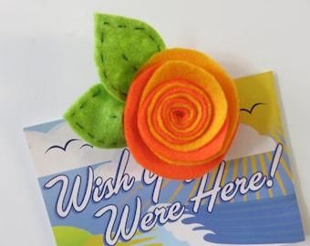 Handmade Rolled Felt Flower Fridge Magnet - Rose or Sunflower 1 One Piece