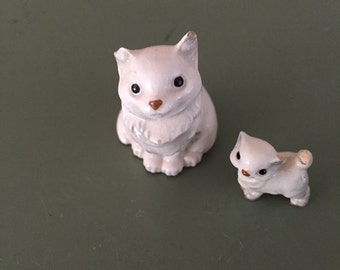 Vintage Cats Ceramic Figurines Glass White Cat Collectible Kitten Animals
