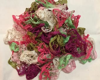 Pastel Pink, Purple, Green, and White Variegated Decorative Ruffle Scarf