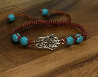Hamsa Bracelet - Brown Macrame Bracelet With Hamsa Hand - Brown Hand of Fatima Bracelet - Brown Kabbalah Bracelet -Brown Hamsa Hand Bracelet