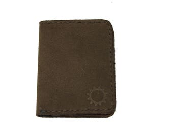 Mens Wallet Small Brown Handmade Genuine Leather Bifold Credit Cards High Quality 1813