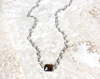 Joyful Connection necklace - natural smoky quartz focal gemstone and blue flash moonstone choker with spring clasp