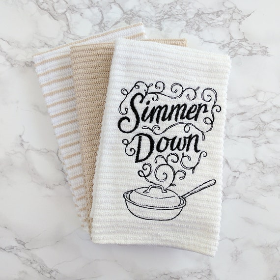 Items similar to funny kitchen towel set simmer down for Funny kitchen set