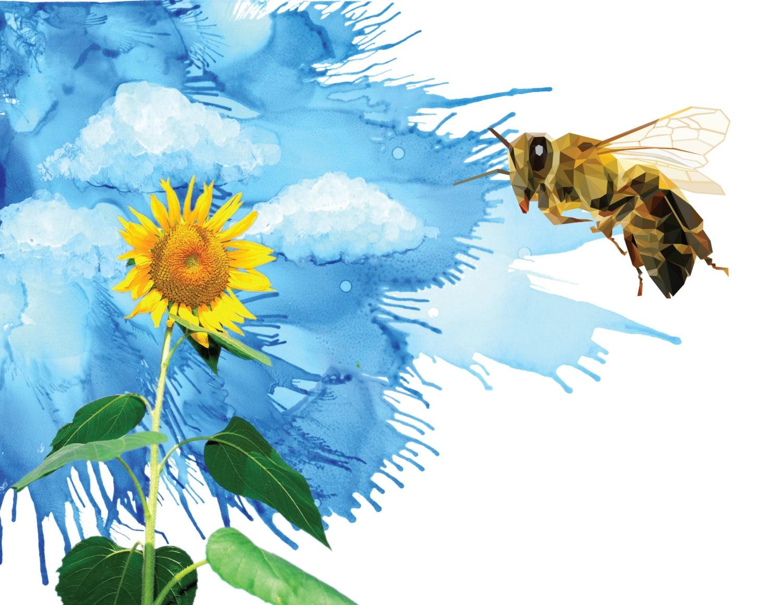 bumblebee art bee print bee art sunflower art bee