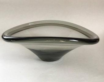 Vintage Mod Danish Modern Retro Smoke Glass Bowl Holmegaard