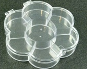 Flower Shaped Clear Plastic Boxes 7 Compartments Hinged Lid Storage DIY Projects Craft Supplies (B10)