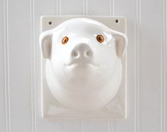 Vintage Ceramic Pig Head - White Faux Taxidermy Mount Wall Hanging