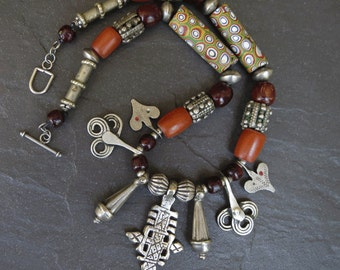 Antique Venetian Millefiori, Resin Amber and Silver Amulets Necklace