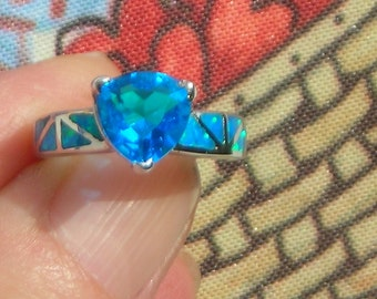 Blue Ocean lab OPAL & CRYSTAL/Rhinestones white Gold plated, stamp. 925 RING