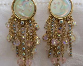 Kirks Folly Earring, Seaview Moon,Aurora Borealis Rhinestone and Crystal Dangle Earrings, Pierced Earrings, Kirks Folly Jewelry