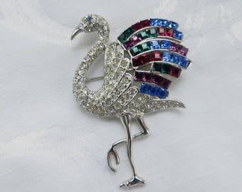 Vintage Flamingo Brooch Rhinestone Signed Duchess of Windsor Jewelry Replica