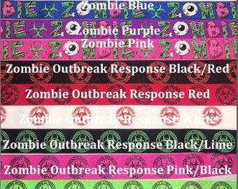 """Custom Dog Collar - Design Your Own - 1"""", 1.5"""" or 2"""" Wide Zombie Prints Ribbon Dog Collar"""