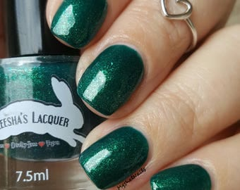Turquoise Shimmer Nail Polish, Blue/Green Shifting Indie Nail Polish - Tortile - Gothic Spring Collection